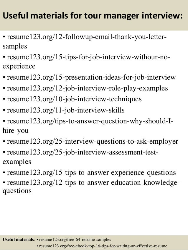Top 8 tour manager resume samples – Tour Manager Resume