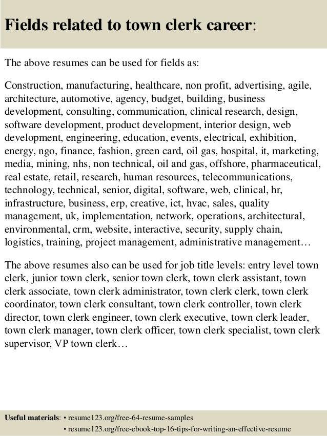 Top 8 town clerk resume samples