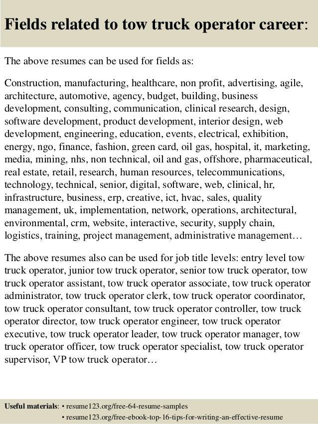top 8 tow truck operator resume samples