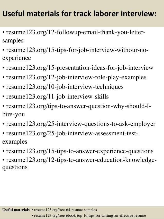 Top 8 track laborer resume samples
