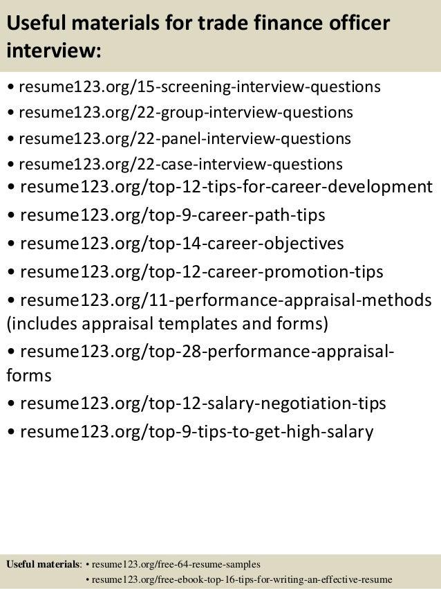 Top 8 trade finance officer resume samples