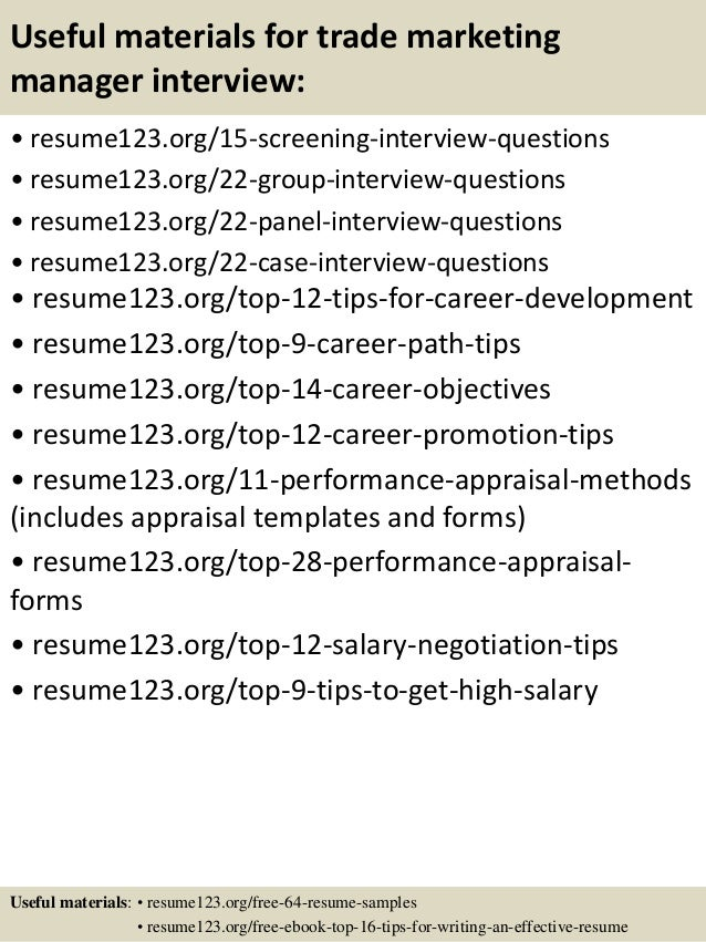 Top 8 trade marketing manager resume samples