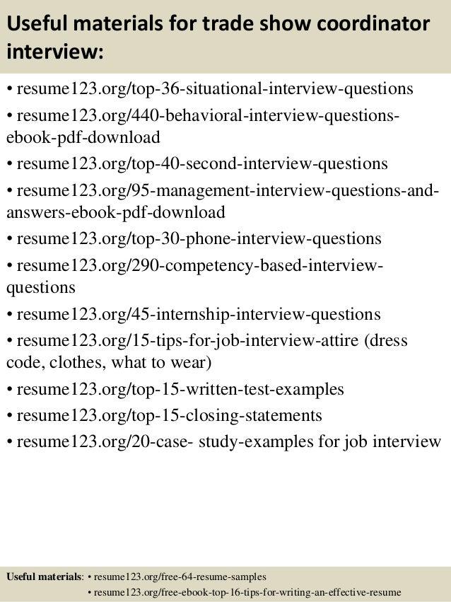 Top 8 trade show coordinator resume samples