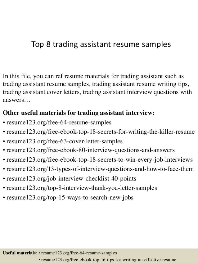 Top 8 trading assistant resume samples