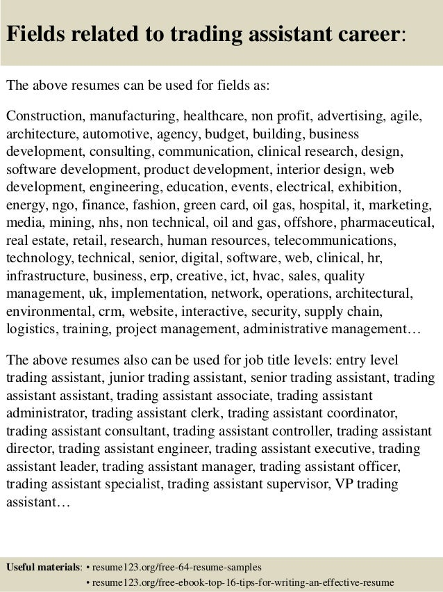 Good Trade Assistant Resume