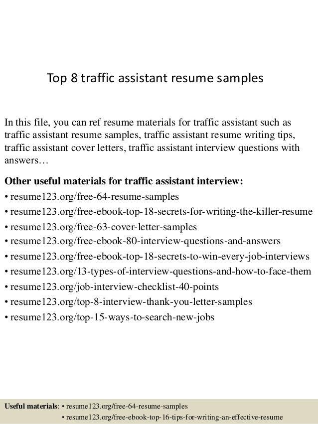 Top 8 traffic assistant resume samples