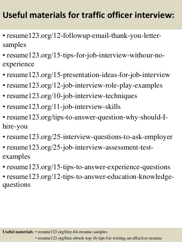 Top 8 traffic officer resume samples