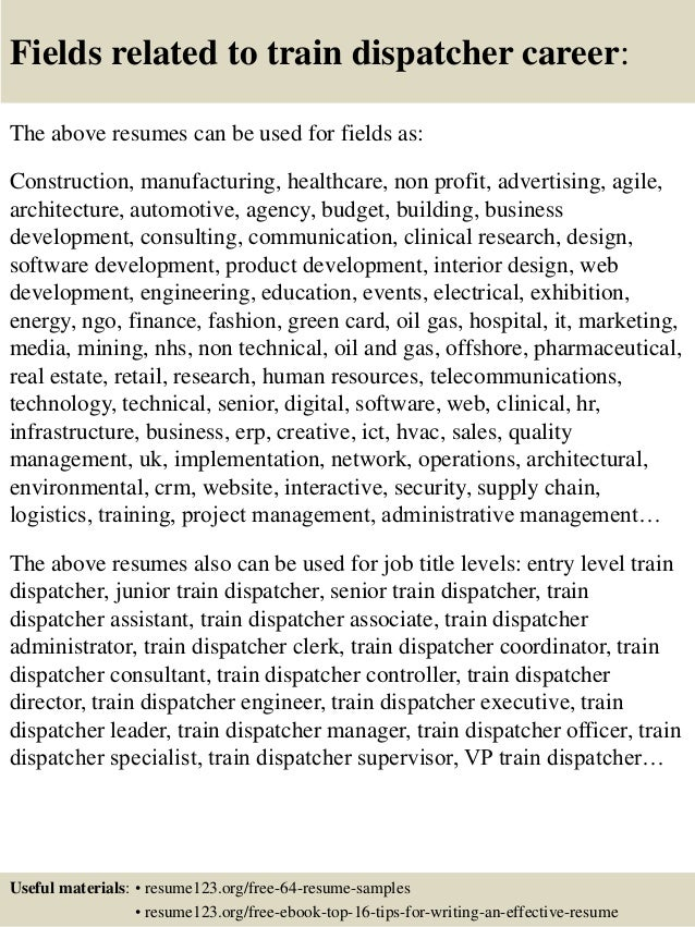 top 8 train dispatcher resume samples