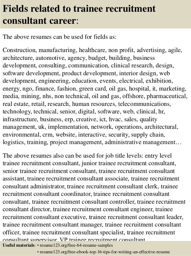 top 8 trainee recruitment consultant resume samples