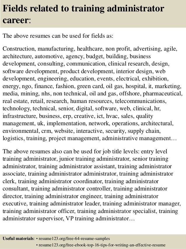 16 fields related to training - Training Resume