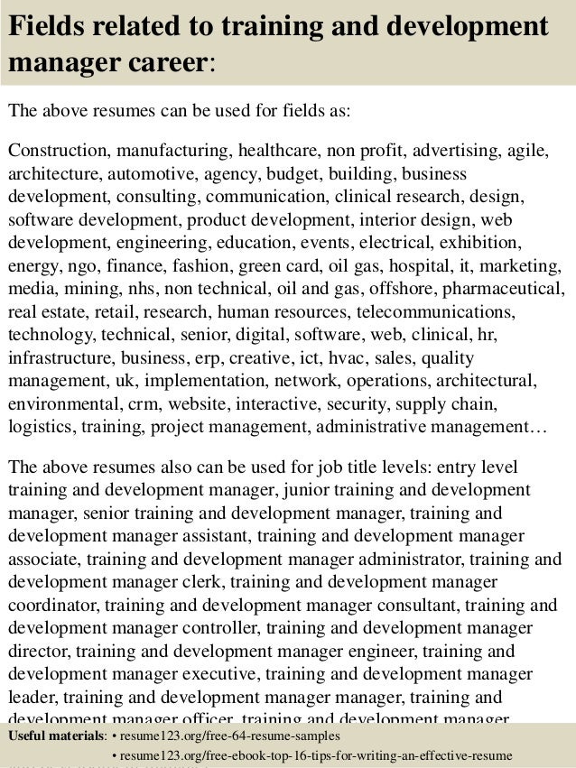 16 fields related to training and development - Training And Development Resume Sample