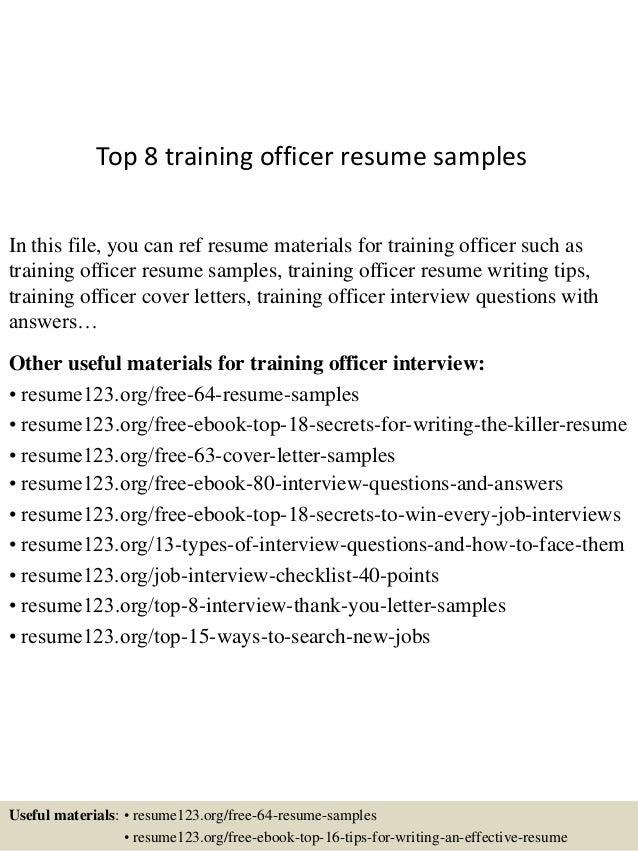 top 8 training officer resume samples 1 638 jpg cb 1430038999