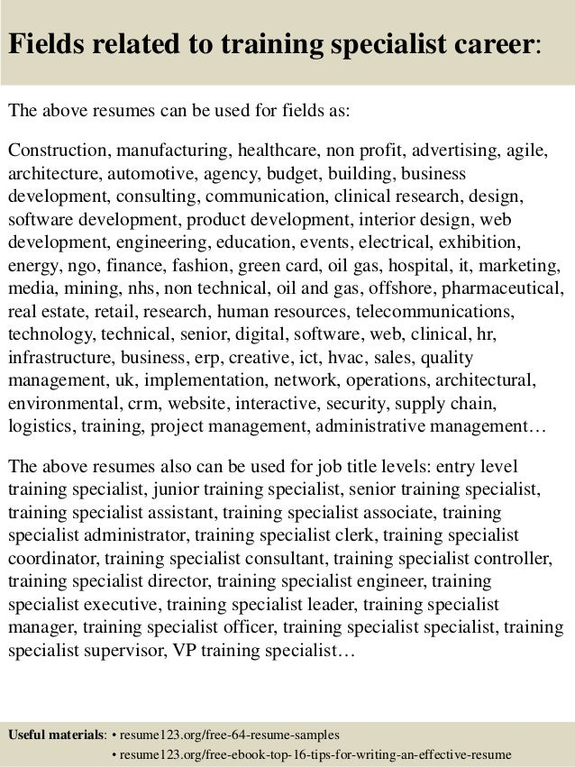 Top 8 training specialist resume samples