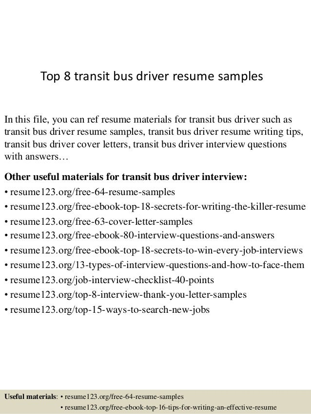 top 8 transit bus driver resume samples