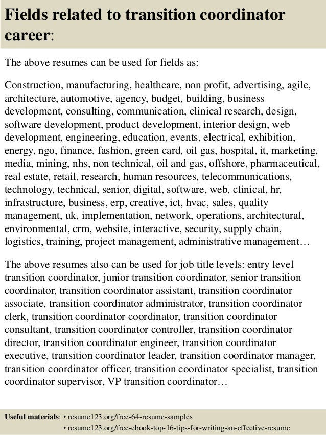 16 fields related to transition - Transition Specialist Sample Resume
