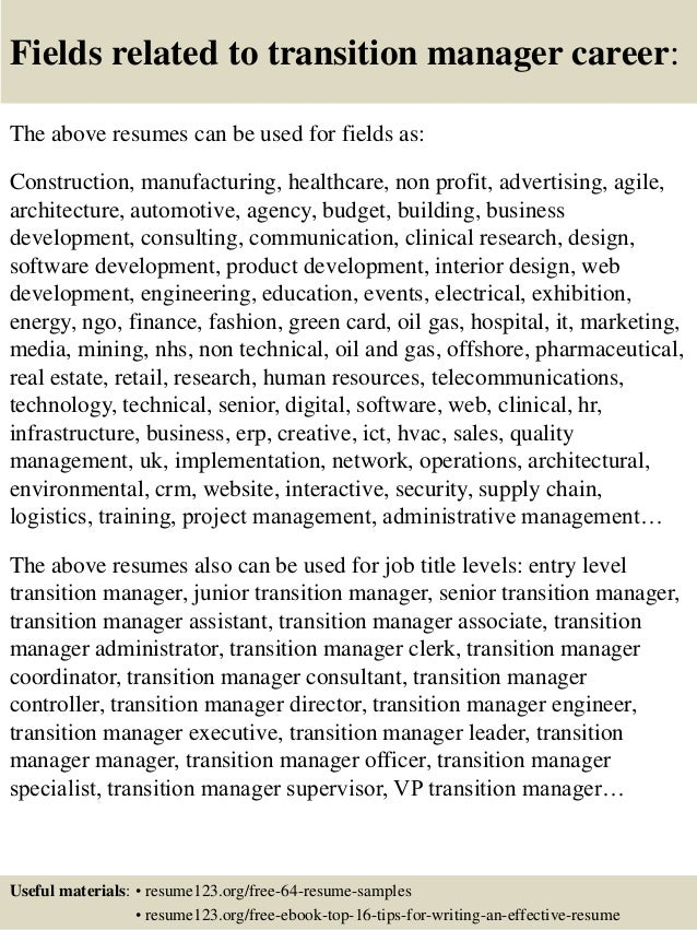 Top 8 transition manager resume samples 16 fields related to transition manager yelopaper Images