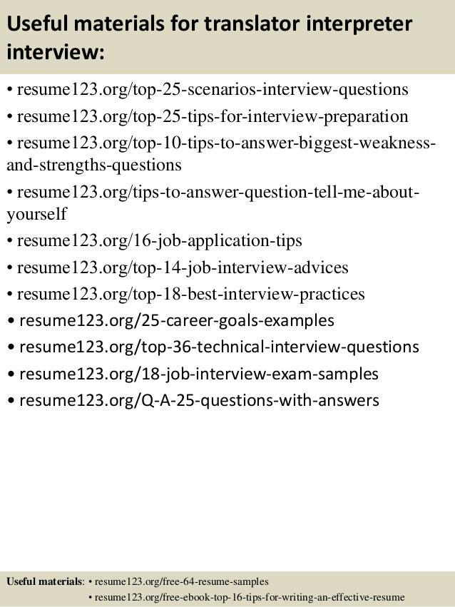 Top 8 translator interpreter resume samples – Interpreter Resume Sample