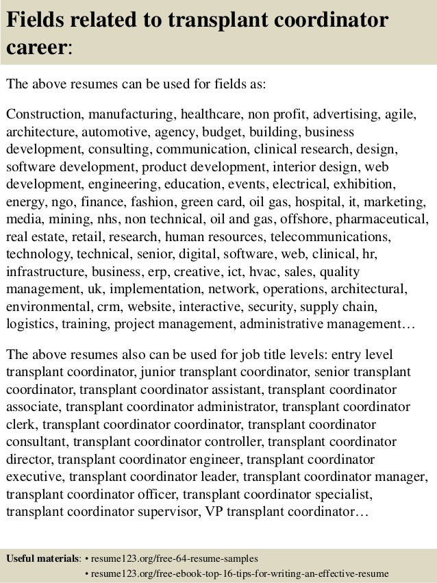 ... 16. Fields Related To Transplant Coordinator ...