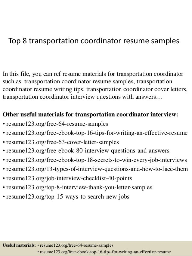 Top 8 transportation coordinator resume samples for Office junior job description template