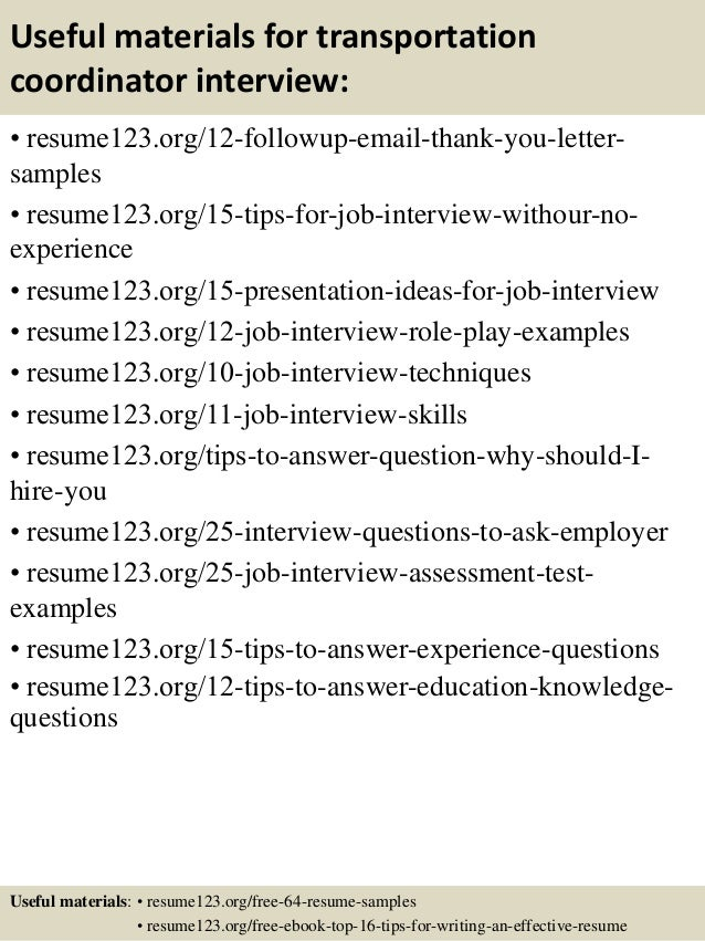 ... 14. Useful Materials For Transportation ...  Transportation Resume