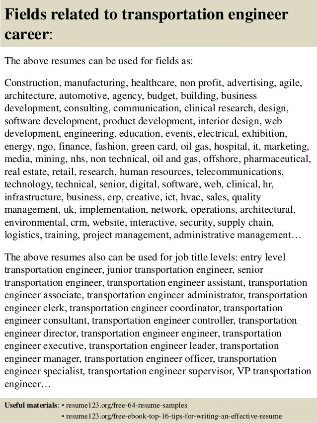 Top 8 transportation engineer resume samples