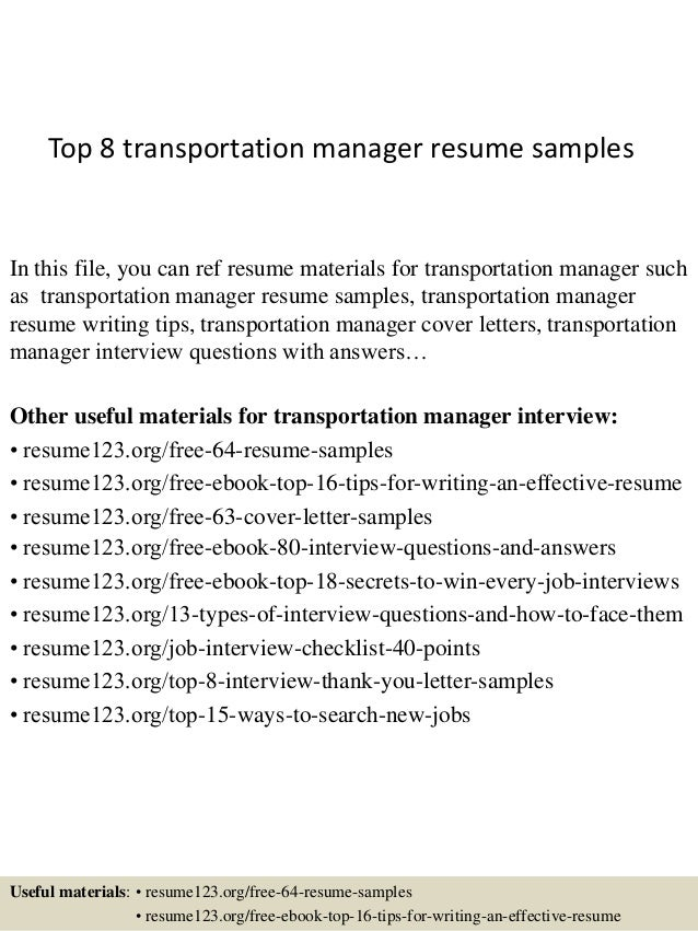 Top 8 Transportation Manager Resume Samples In This File, You Can Ref Resume  Materials For ...