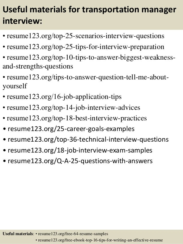 13 useful materials for transportation manager sample transportation management resume