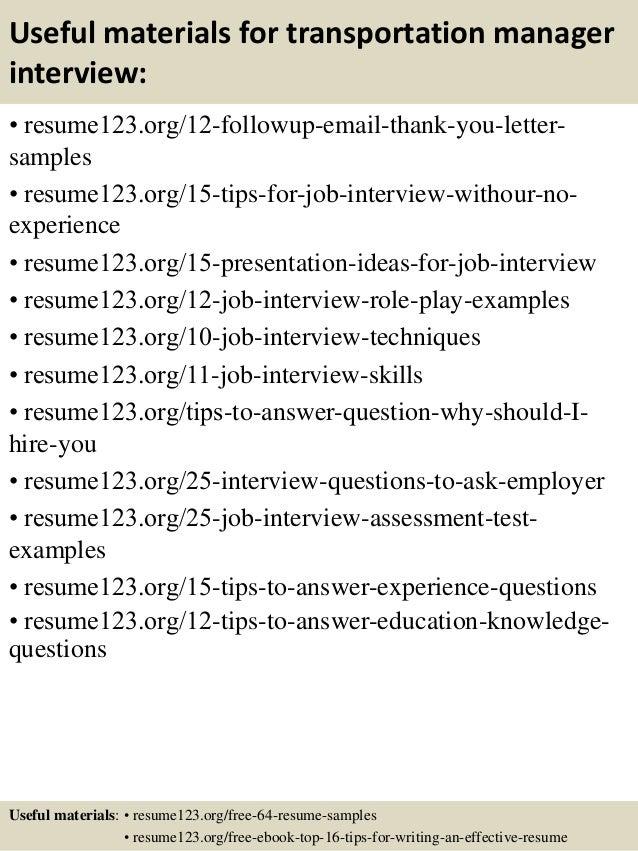 Top 8 transportation manager resume samples – Transportation Manager Resume