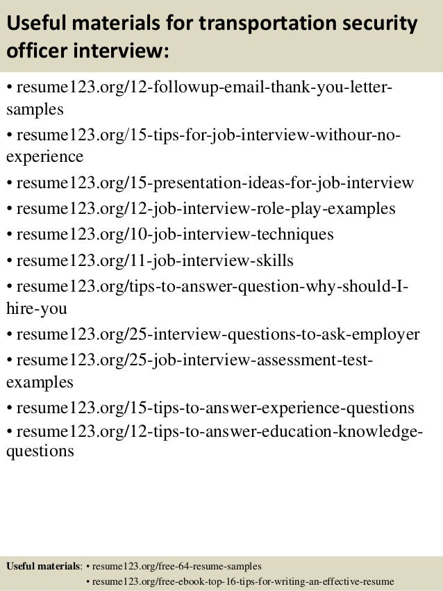 ... 14. Useful Materials For Transportation Security Officer ...  Resume Security Officer
