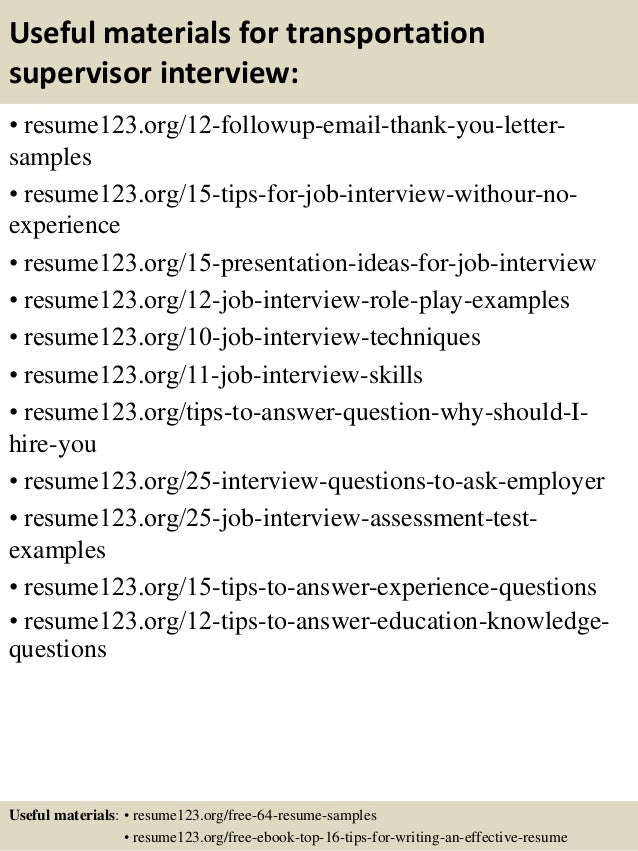 Top 8 Transportation Supervisor Resume Samples