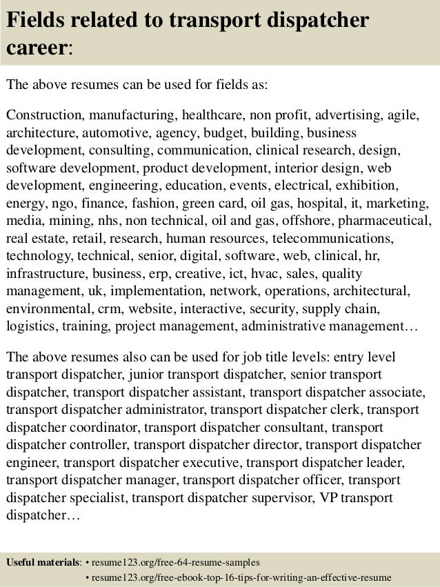 top 8 transport dispatcher resume samples