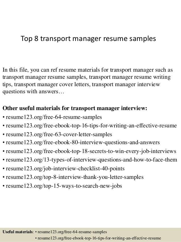 transport manager cv