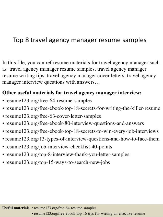 Top 8 Travel Agency Manager Resume Samples In This File You Can Ref Materials