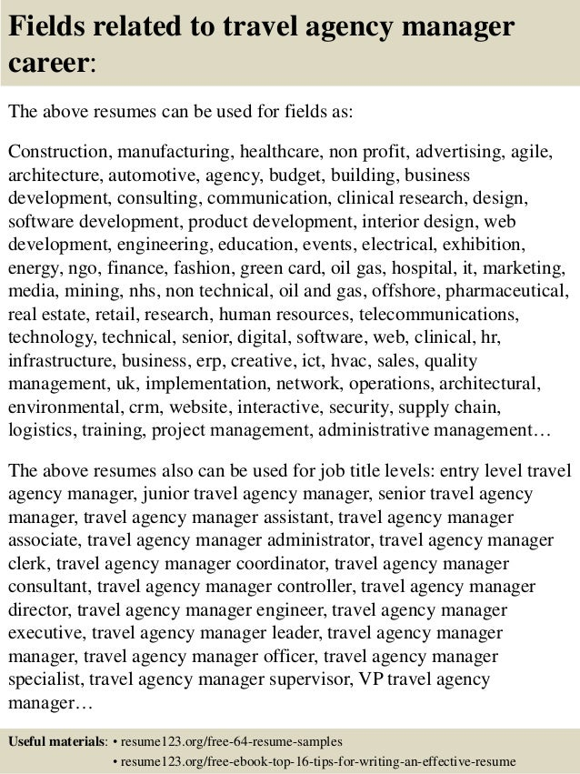 16 Fields Related To Travel Agency Manager Career The Above Resumes