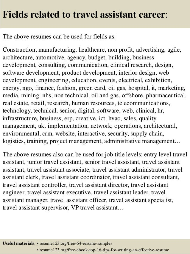 Top 8 travel assistant resume samples
