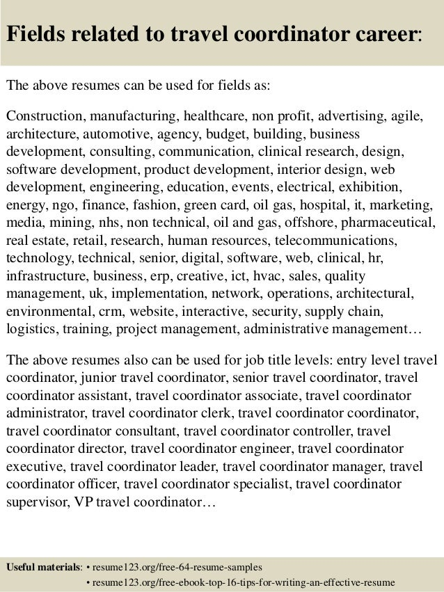 16 Fields Related To Travel Coordinator