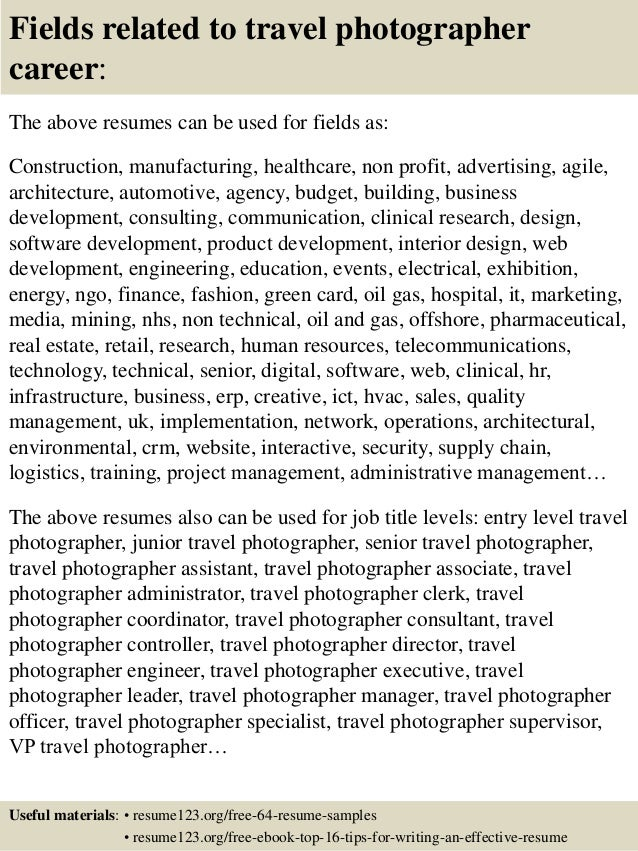 top 8 travel photographer resume samples