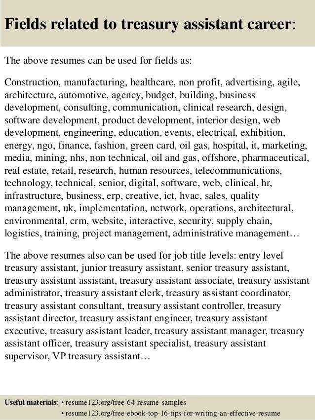 Top 8 treasury assistant resume samples
