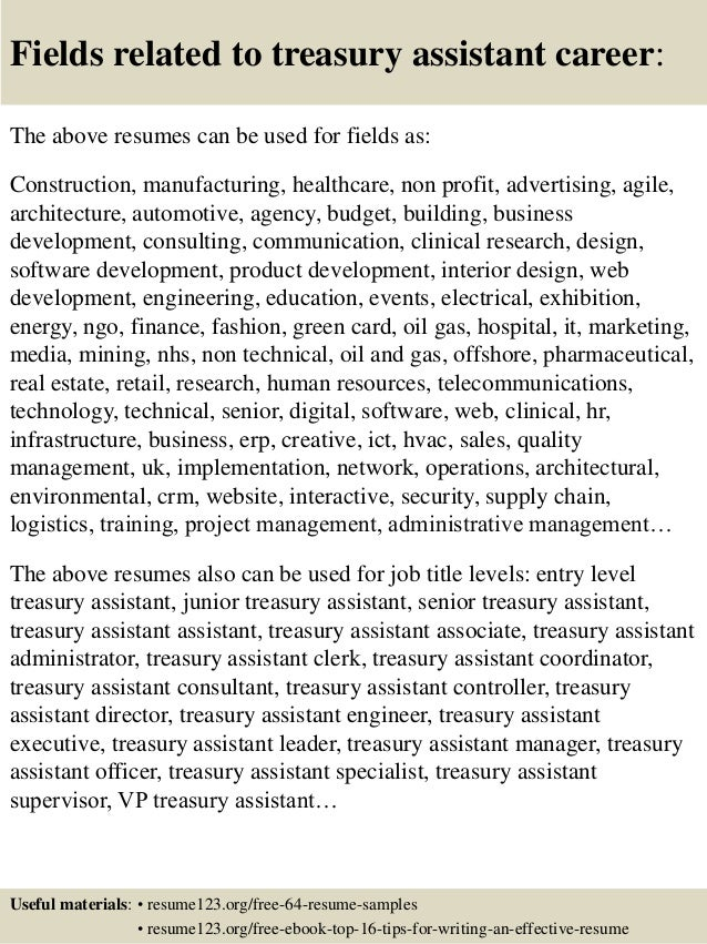 ... 16. Fields Related To Treasury Assistant Career: The Above Resumes ...