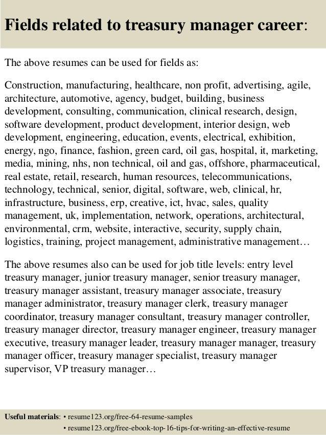 Resume Resume Sample Treasury Manager top 8 treasury manager resume samples 16 fields related to manager