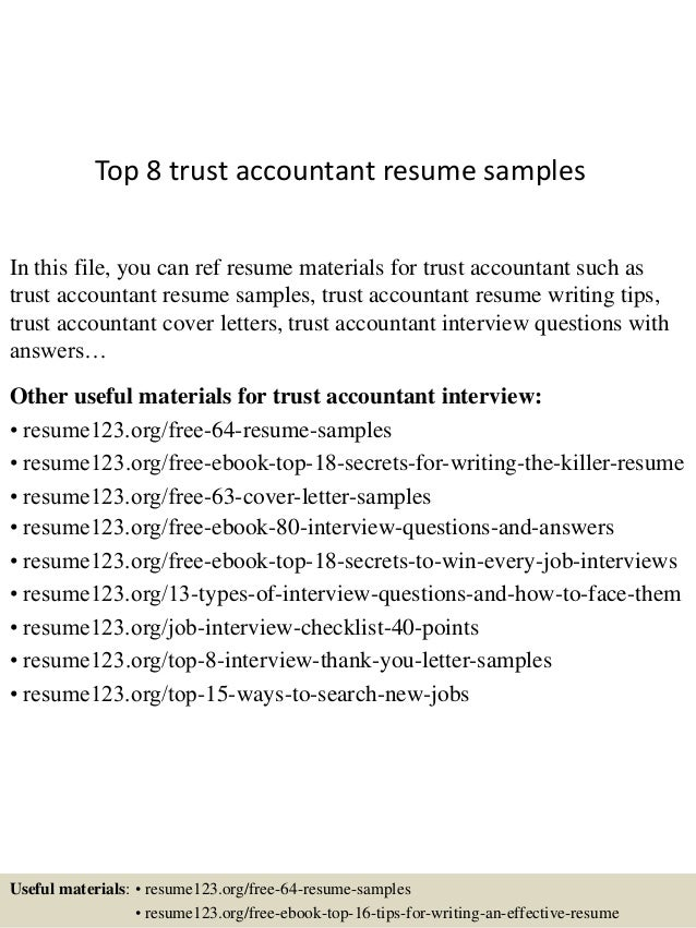 top 8 trust accountant resume samples in this file you can ref resume materials for