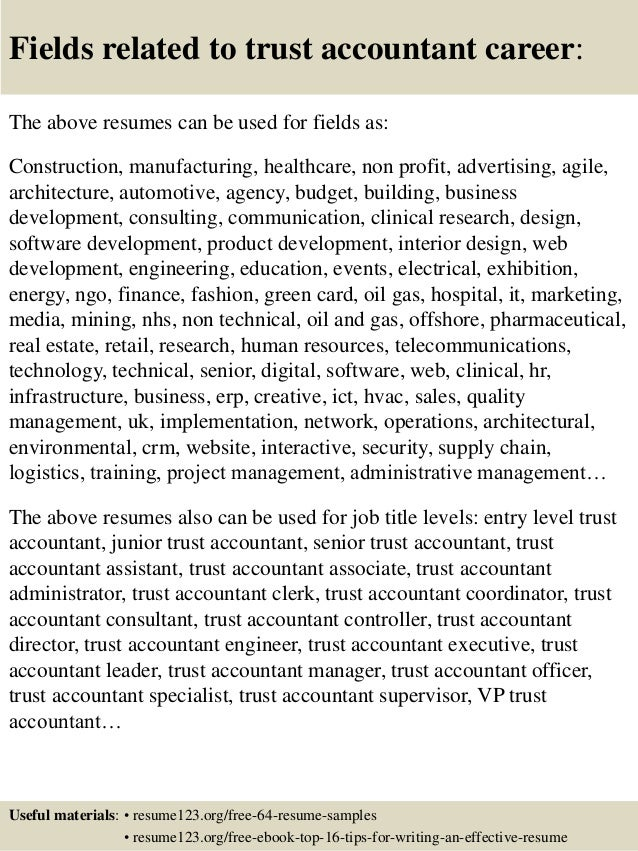 ... 16. Fields Related To Trust Accountant ...
