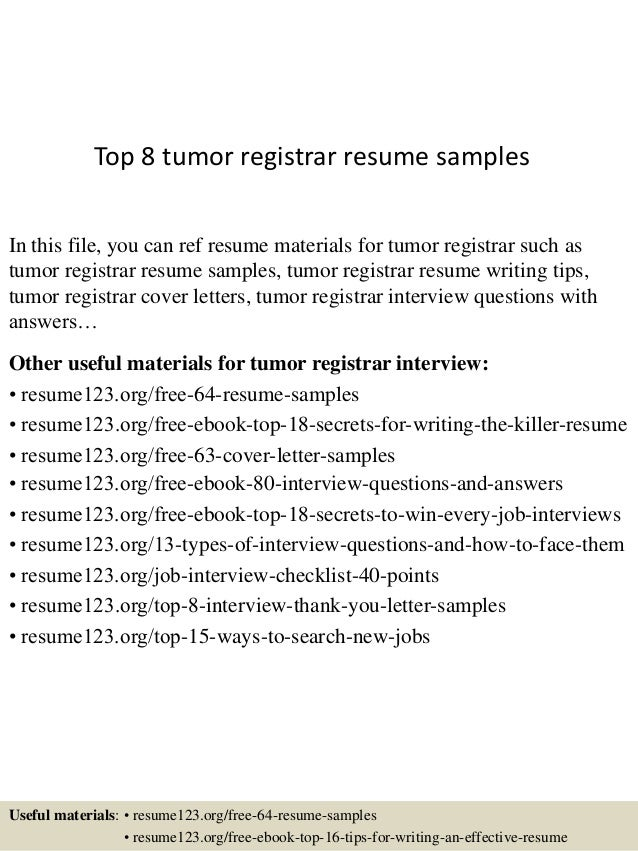 top 8 tumor registrar resume samples