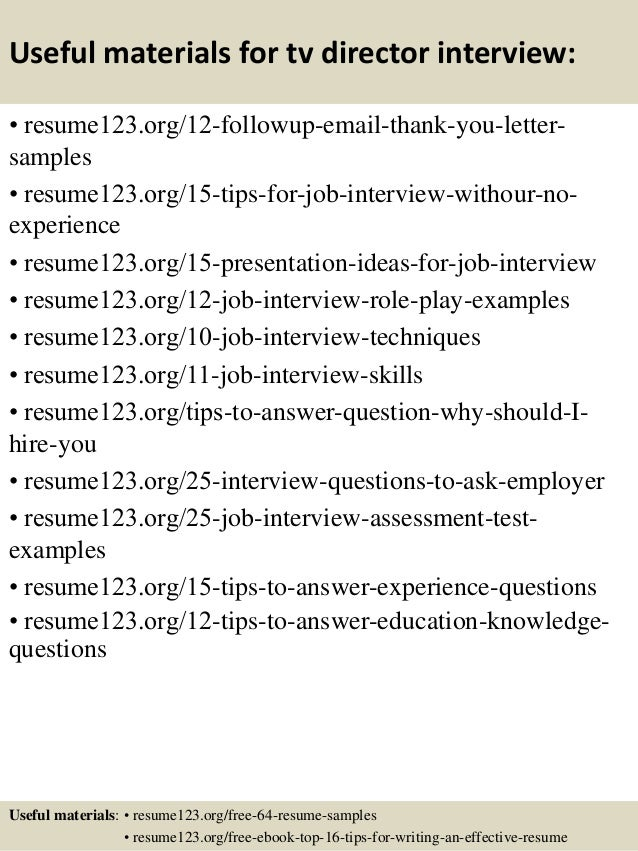 tv resume examples