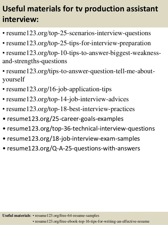... 13. Useful Materials For Tv Production Assistant ...  Production Assistant Resume Sample