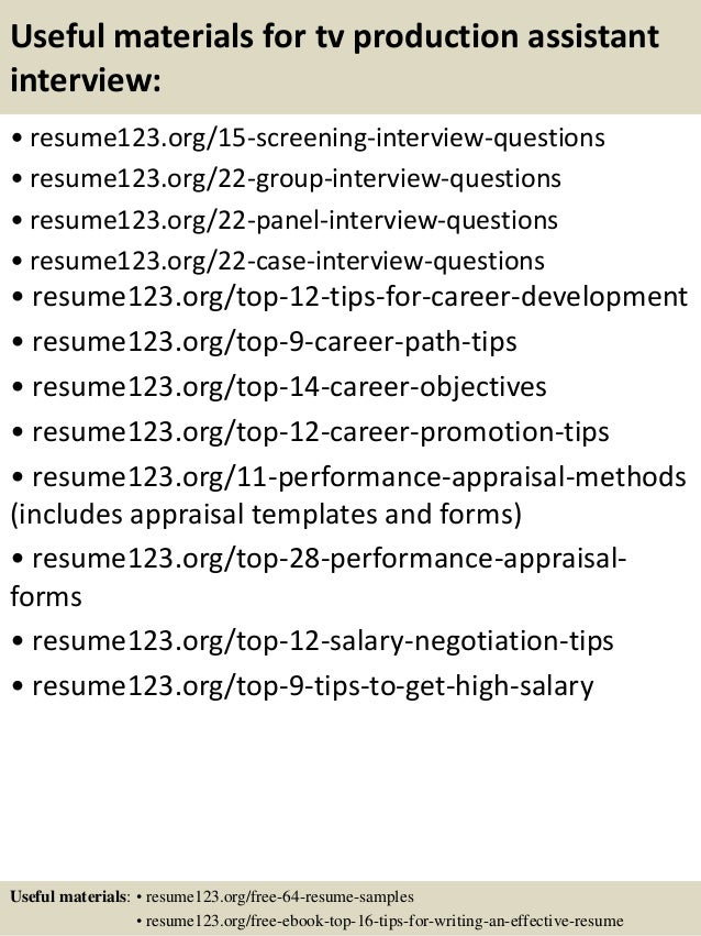 15 useful materials for tv production assistant - Production Assistant Resume Template