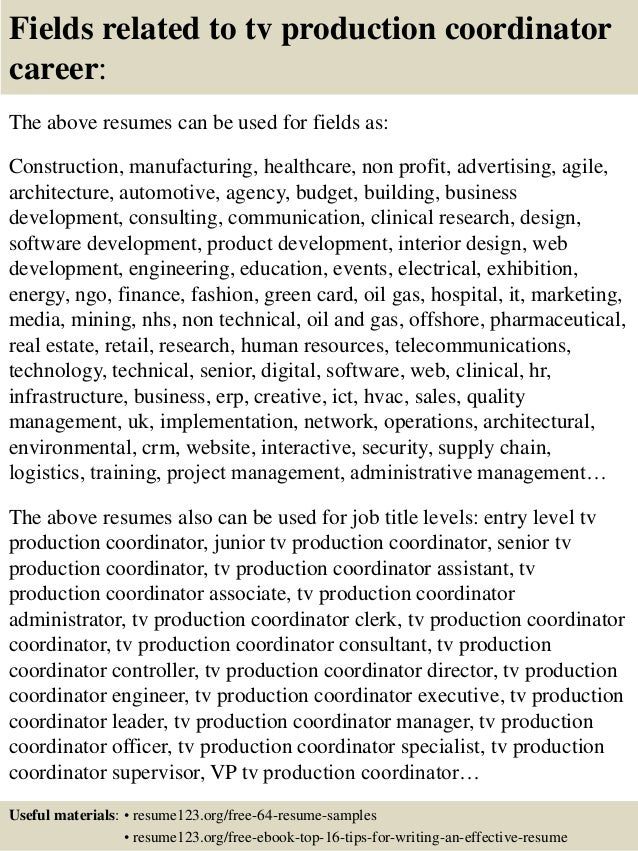 Top 8 Tv Production Coordinator Resume Samples