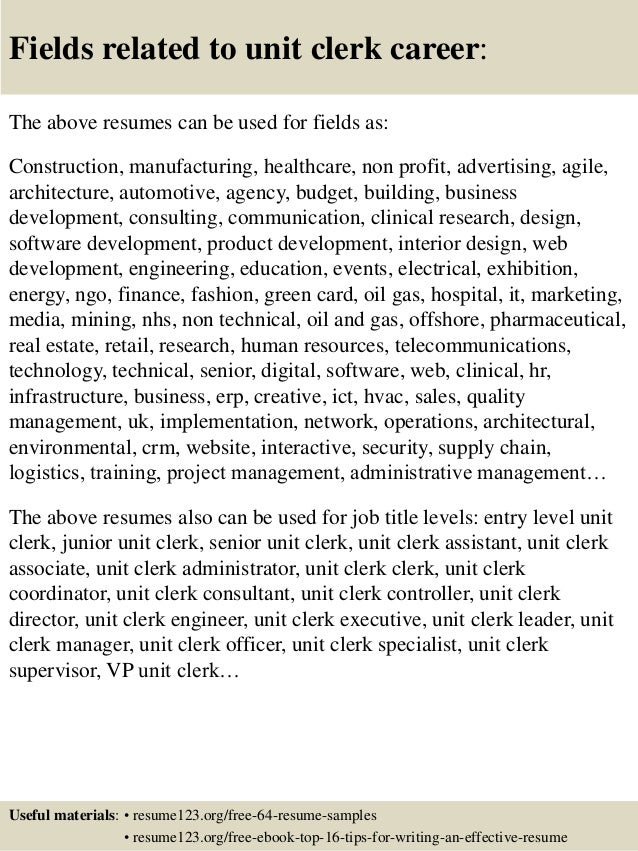16 fields related to unit clerk