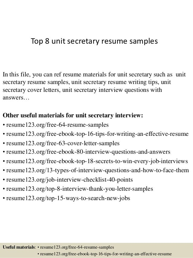 top 8 unit secretary resume samples