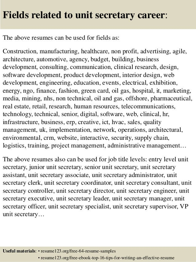 Unit Secretary Resume Cover Letter - Contegri.com